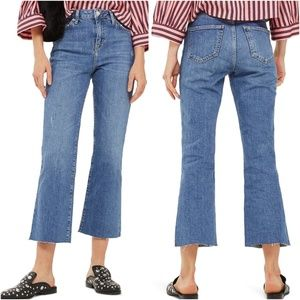 Topshop Moto Dree High Rise Crop Flare Jeans W25